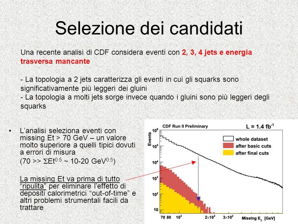 Selezione dei candidati Lanalisi seleziona eventi con missing Et > 70 GeV – un valore molto superiore a quelli tipici dovuti a errori di misura (70 >>