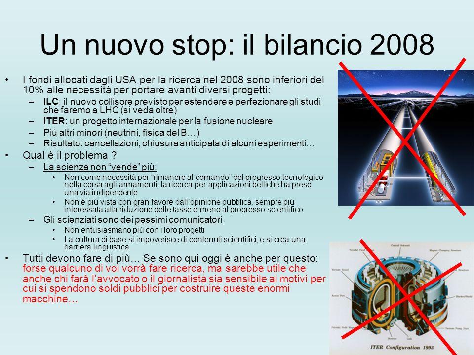 Un nuovo stop: il bilancio 2008 I fondi allocati dagli USA per la ricerca nel 2008 sono inferiori del 10% alle necessità per portare avanti diversi progetti: –ILC: il nuovo collisore previsto per estendere e perfezionare gli studi che faremo a LHC (si veda oltre) –ITER: un progetto internazionale per la fusione nucleare –Più altri minori (neutrini, fisica del B…) –Risultato: cancellazioni, chiusura anticipata di alcuni esperimenti… Qual è il problema .
