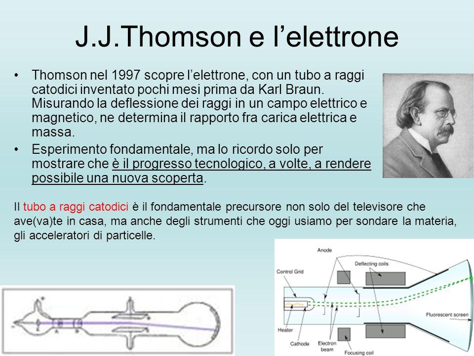 J.J.Thomson e lelettrone Thomson nel 1997 scopre lelettrone, con un tubo a raggi catodici inventato pochi mesi prima da Karl Braun.