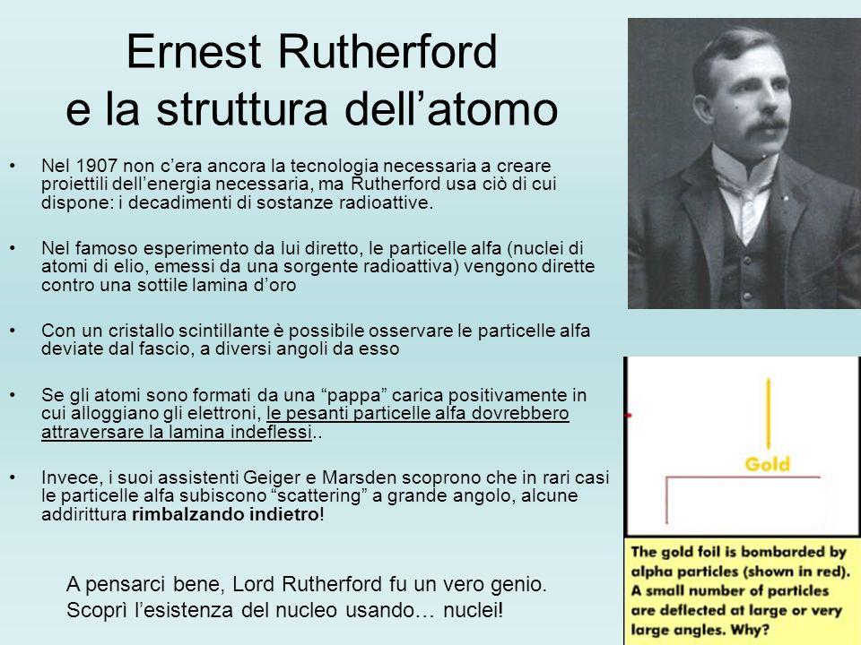 Ernest Rutherford e la struttura dellatomo Nel 1907 non cera ancora la tecnologia necessaria a creare proiettili dellenergia necessaria, ma Rutherford usa ciò di cui dispone: i decadimenti di sostanze radioattive.