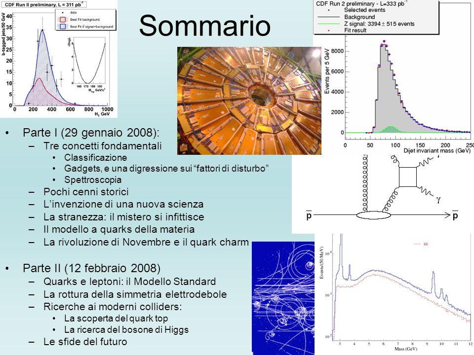 Sommario Parte I (29 gennaio 2008): –Tre concetti fondamentali Classificazione Gadgets, e una digressione sui fattori di disturbo Spettroscopia –Pochi cenni storici –Linvenzione di una nuova scienza –La stranezza: il mistero si infittisce –Il modello a quarks della materia –La rivoluzione di Novembre e il quark charm Parte II (12 febbraio 2008) –Quarks e leptoni: il Modello Standard –La rottura della simmetria elettrodebole –Ricerche ai moderni colliders: La scoperta del quark top La ricerca del bosone di Higgs –Le sfide del futuro