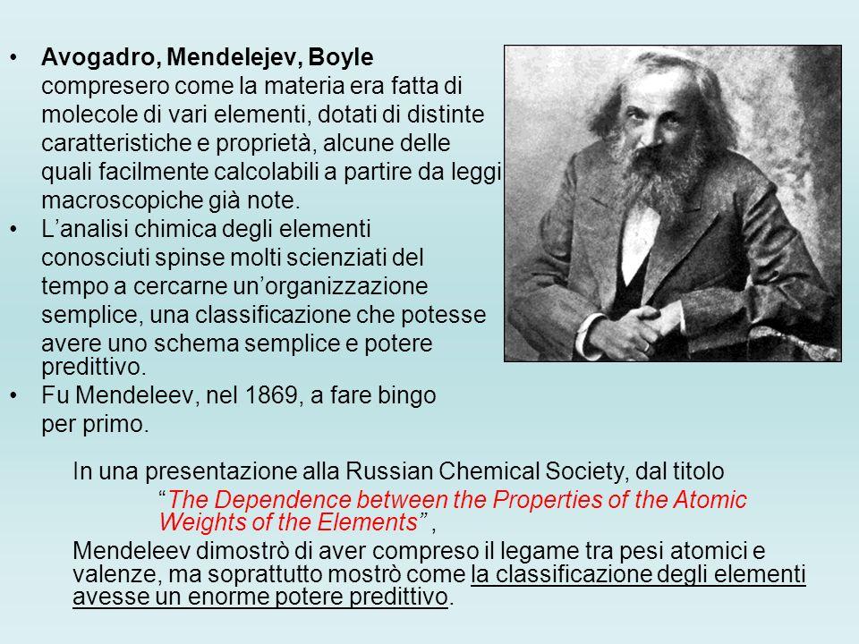 Avogadro, Mendelejev, Boyle compresero come la materia era fatta di molecole di vari elementi, dotati di distinte caratteristiche e proprietà, alcune delle quali facilmente calcolabili a partire da leggi macroscopiche già note.