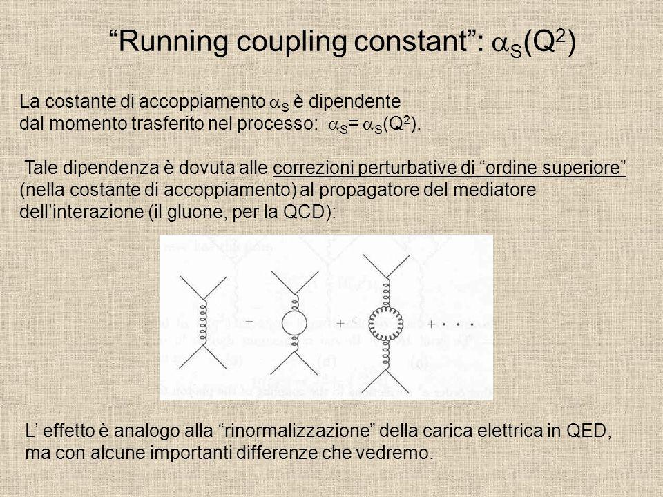 La costante S decresce col momento trasferito (libertà asintotica), e varia molto più rapidamente di QED.