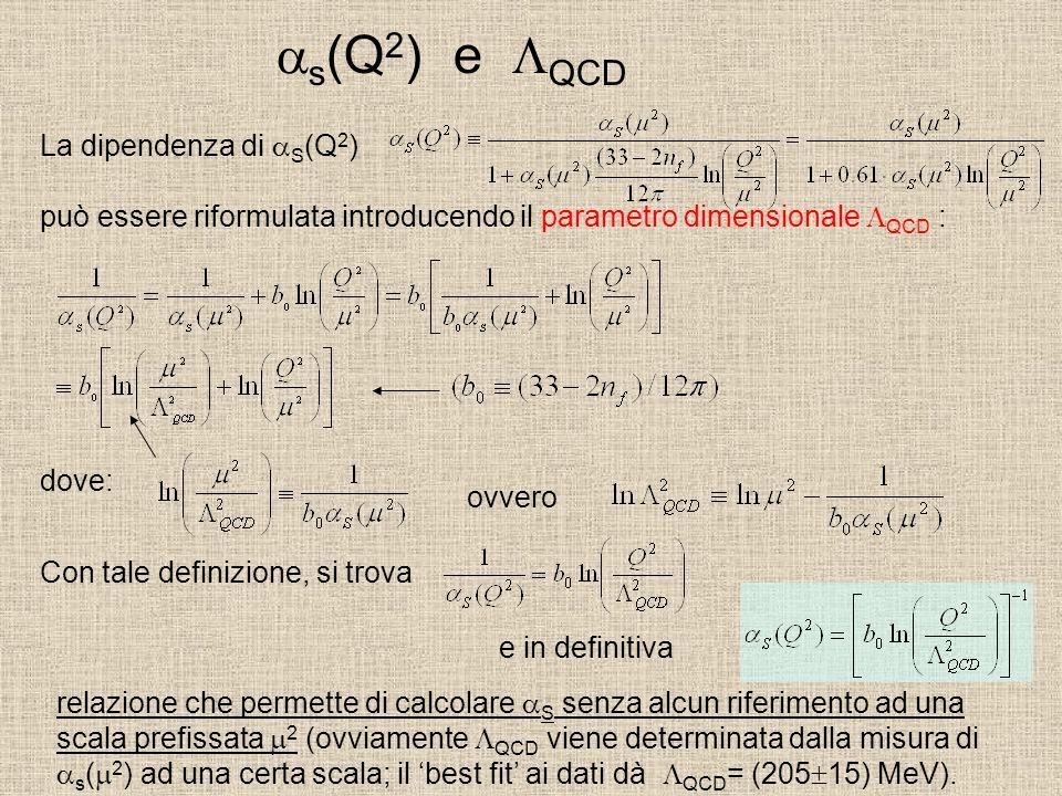 s (Q 2 ) e QCD La dipendenza di S (Q 2 ) può essere riformulata introducendo il parametro dimensionale QCD : dove: ovvero Con tale definizione, si trova e in definitiva relazione che permette di calcolare S senza alcun riferimento ad una scala prefissata 2 (ovviamente QCD viene determinata dalla misura di s ( 2 ) ad una certa scala; il best fit ai dati dà QCD = (205 15) MeV).