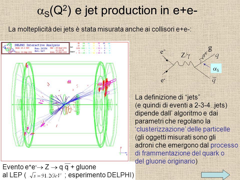 S (Q 2 ) e jet production in e+e- La molteplicità dei jets è stata misurata anche ai collisori e+e-: Evento e + e - Z q q + gluone al LEP ( ; esperimento DELPHI) e+e+ e-e- Z/ g S La definizione di jets (e quindi di eventi a 2-3-4..jets) dipende dall algoritmo e dai parametri che regolano la clusterizzazione delle particelle (gli oggetti misurati sono gli adroni che emergono dal processo di frammentazione del quark o del gluone originario)
