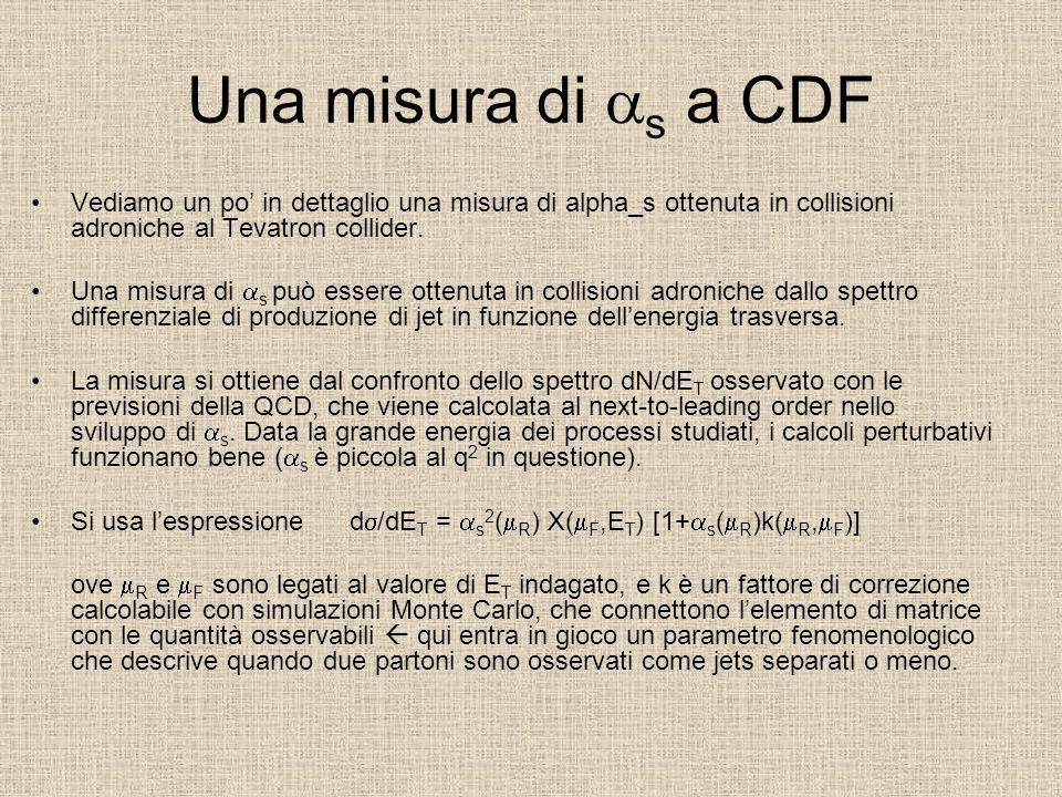 Una misura di s a CDF Vediamo un po in dettaglio una misura di alpha_s ottenuta in collisioni adroniche al Tevatron collider.