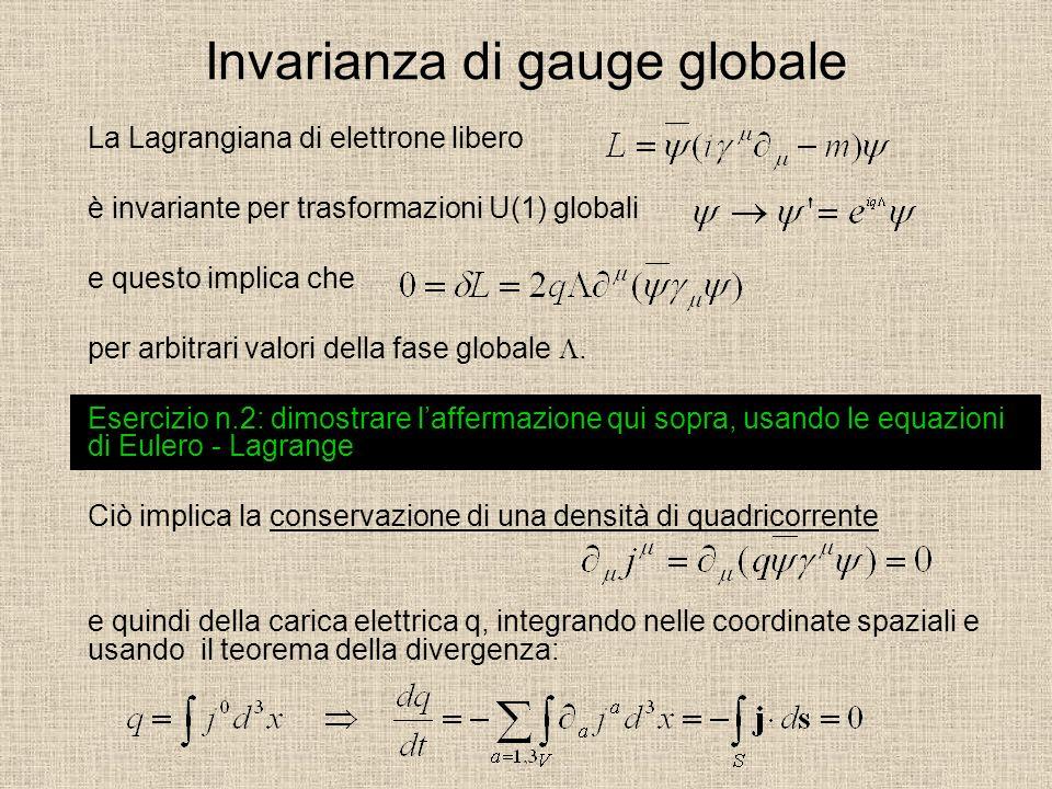 Invarianza di gauge globale La Lagrangiana di elettrone libero è invariante per trasformazioni U(1) globali e questo implica che per arbitrari valori della fase globale.