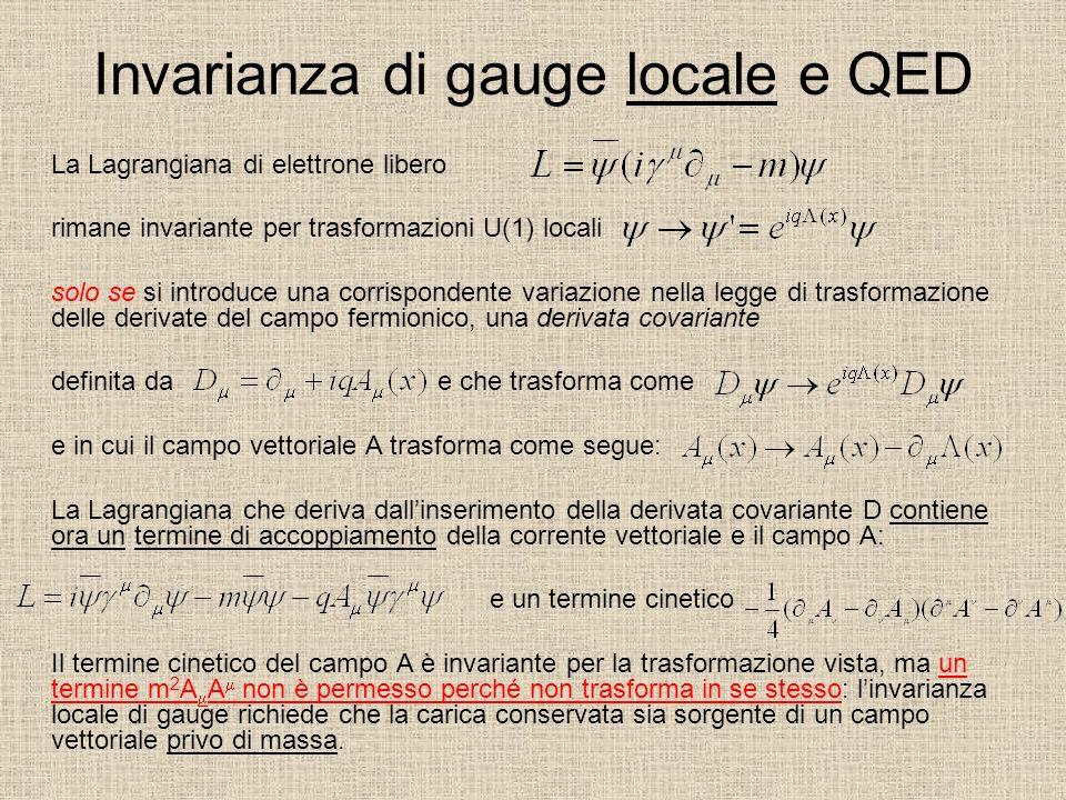 Invarianza di gauge locale e QED La Lagrangiana di elettrone libero rimane invariante per trasformazioni U(1) locali solo se si introduce una corrispondente variazione nella legge di trasformazione delle derivate del campo fermionico, una derivata covariante definita dae che trasforma come e in cui il campo vettoriale A trasforma come segue: La Lagrangiana che deriva dallinserimento della derivata covariante D contiene ora un termine di accoppiamento della corrente vettoriale e il campo A: e un termine cinetico Il termine cinetico del campo A è invariante per la trasformazione vista, ma un termine m 2 A A non è permesso perché non trasforma in se stesso: linvarianza locale di gauge richiede che la carica conservata sia sorgente di un campo vettoriale privo di massa.