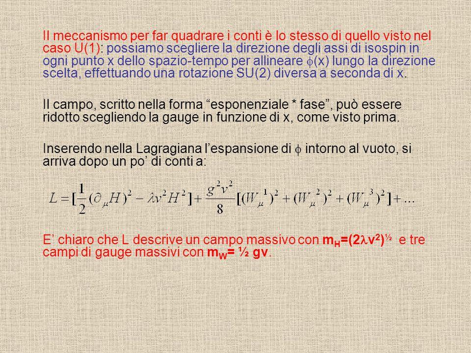 Il meccanismo per far quadrare i conti è lo stesso di quello visto nel caso U(1): possiamo scegliere la direzione degli assi di isospin in ogni punto x dello spazio-tempo per allineare (x) lungo la direzione scelta, effettuando una rotazione SU(2) diversa a seconda di x.