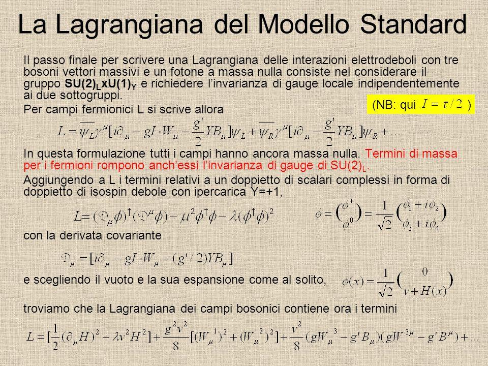 La Lagrangiana del Modello Standard Il passo finale per scrivere una Lagrangiana delle interazioni elettrodeboli con tre bosoni vettori massivi e un fotone a massa nulla consiste nel considerare il gruppo SU(2) L xU(1) Y e richiedere linvarianza di gauge locale indipendentemente ai due sottogruppi.