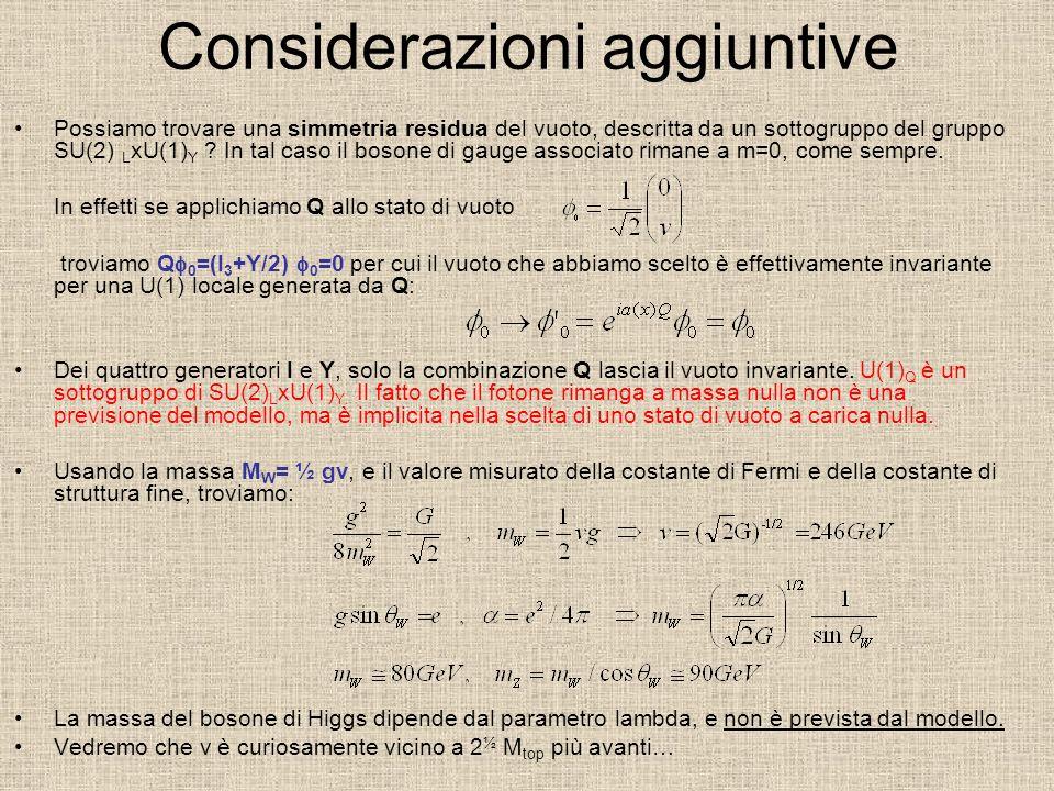 Considerazioni aggiuntive Possiamo trovare una simmetria residua del vuoto, descritta da un sottogruppo del gruppo SU(2) L xU(1) Y .