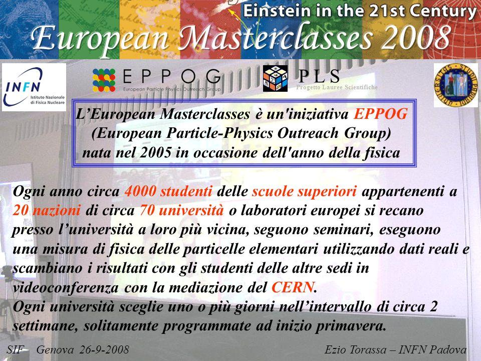 SIF Genova 26-9-2008 Ezio Torassa – INFN Padova Progetto Lauree Scientifiche P L S LEuropean Masterclasses è un'iniziativa EPPOG (European Particle-Ph