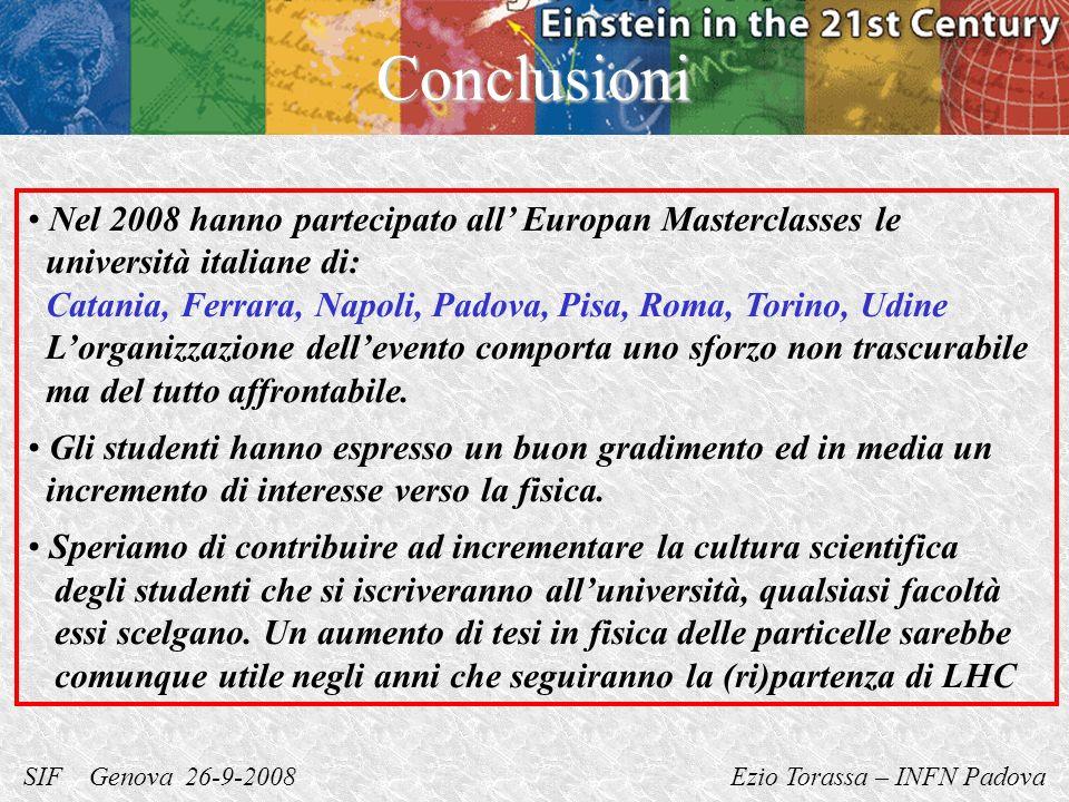 SIF Genova 26-9-2008 Ezio Torassa – INFN PadovaConclusioni Nel 2008 hanno partecipato all Europan Masterclasses le università italiane di: Catania, Fe