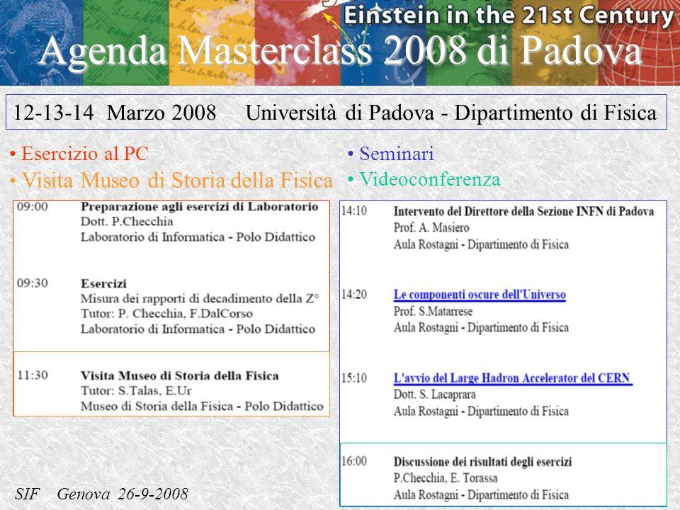 SIF Genova 26-9-2008 Ezio Torassa – INFN Padova Agenda Masterclass 2008 di Padova Seminari Videoconferenza 12-13-14 Marzo 2008 Università di Padova - Dipartimento di Fisica Esercizio al PC Visita Museo di Storia della Fisica