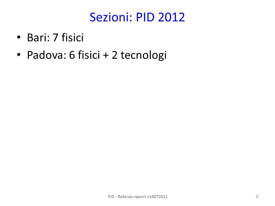 Sezioni: PID 2012 Bari: 7 fisici Padova: 6 fisici + 2 tecnologi PID - Referee report v140720112