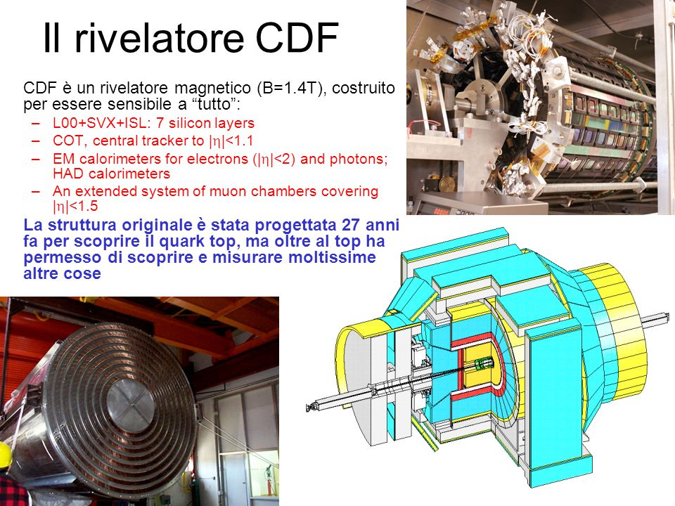 Il rivelatore CDF CDF è un rivelatore magnetico (B=1.4T), costruito per essere sensibile a tutto: –L00+SVX+ISL: 7 silicon layers –COT, central tracker to | |<1.1 –EM calorimeters for electrons (| |<2) and photons; HAD calorimeters –An extended system of muon chambers covering | |<1.5 La struttura originale è stata progettata 27 anni fa per scoprire il quark top, ma oltre al top ha permesso di scoprire e misurare moltissime altre cose