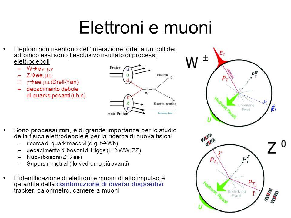 Elettroni e muoni I leptoni non risentono dellinterazione forte: a un collider adronico essi sono lesclusivo risultato di processi elettrodeboli –W e, –Z ee, – ee, (Drell-Yan) –decadimento debole di quarks pesanti (t,b,c) Sono processi rari, e di grande importanza per lo studio della fisica elettrodebole e per la ricerca di nuova fisica.