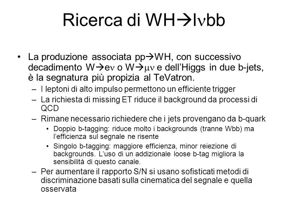 Ricerca di WH l bb La produzione associata pp WH, con successivo decadimento W e o W e dellHiggs in due b-jets, è la segnatura più propizia al TeVatron.