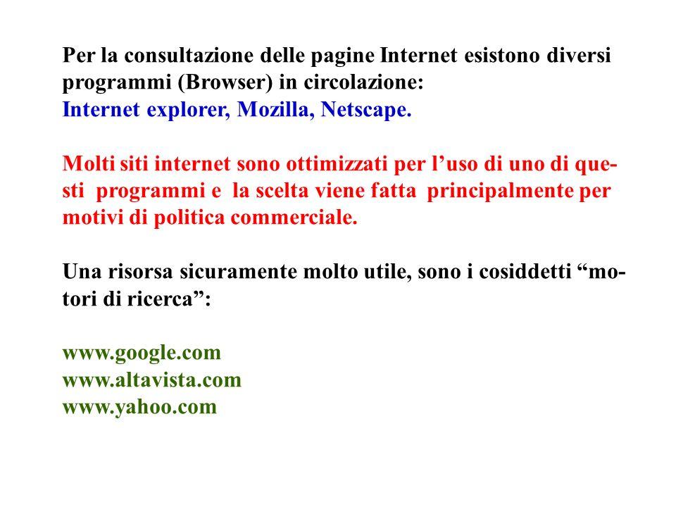 Per la consultazione delle pagine Internet esistono diversi programmi (Browser) in circolazione: Internet explorer, Mozilla, Netscape.