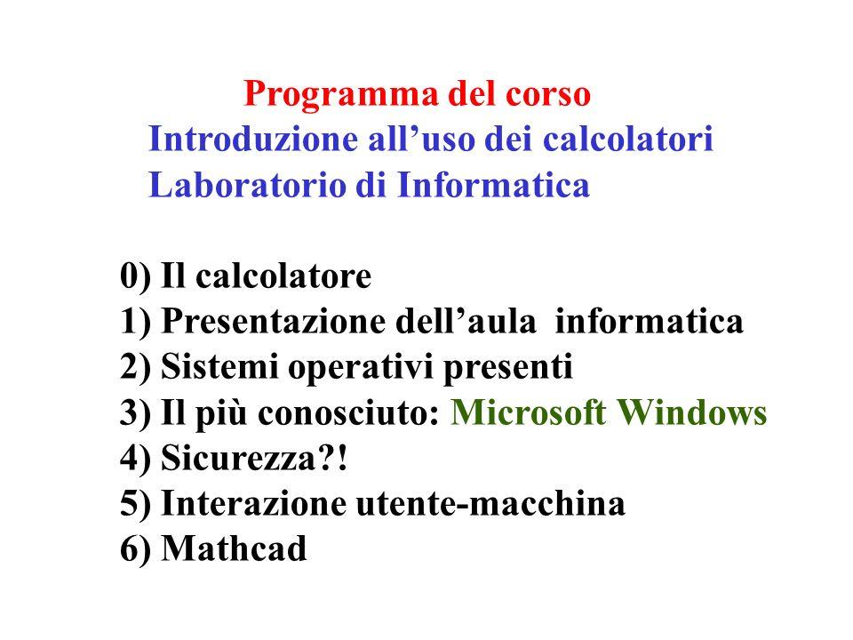 Programma del corso Introduzione alluso dei calcolatori Laboratorio di Informatica 0) Il calcolatore 1) Presentazione dellaula informatica 2) Sistemi operativi presenti 3) Il più conosciuto: Microsoft Windows 4) Sicurezza?.