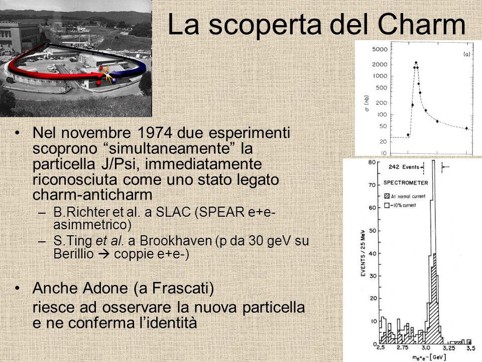 La scoperta del Charm Nel novembre 1974 due esperimenti scoprono simultaneamente la particella J/Psi, immediatamente riconosciuta come uno stato legat