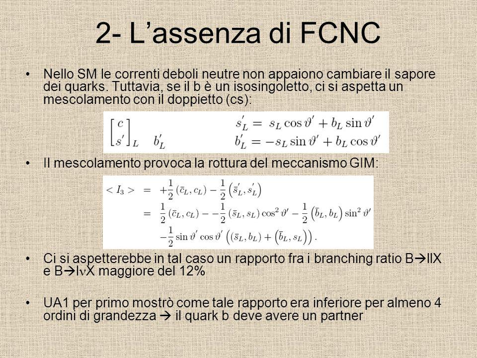 2- Lassenza di FCNC Nello SM le correnti deboli neutre non appaiono cambiare il sapore dei quarks. Tuttavia, se il b è un isosingoletto, ci si aspetta