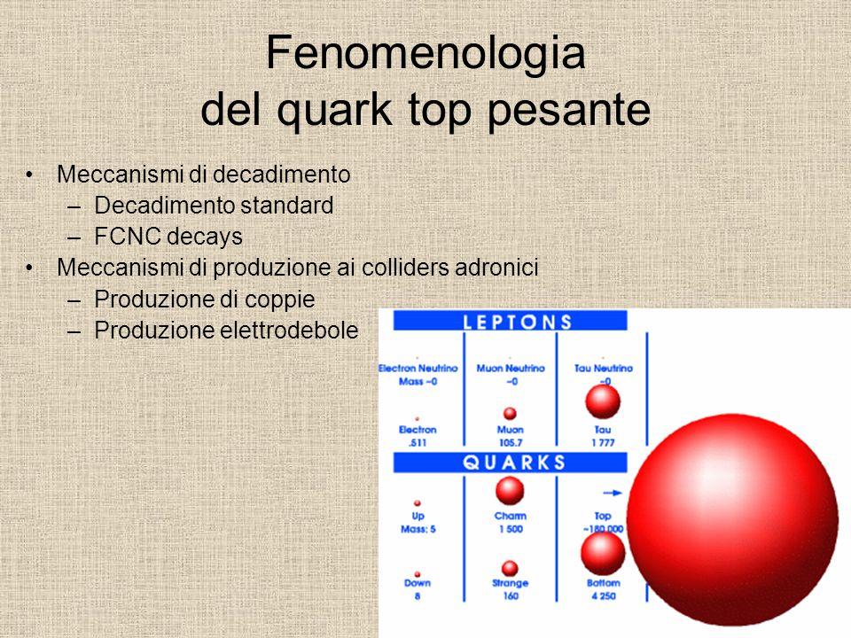 Fenomenologia del quark top pesante Meccanismi di decadimento –Decadimento standard –FCNC decays Meccanismi di produzione ai colliders adronici –Produ