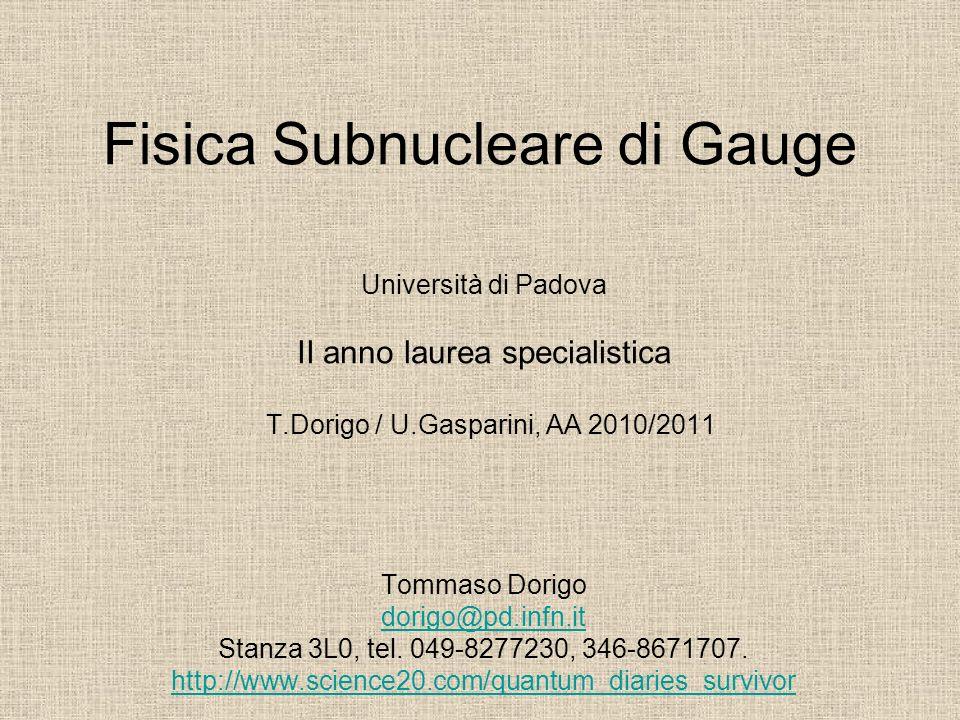 Fisica Subnucleare di Gauge Università di Padova II anno laurea specialistica T.Dorigo / U.Gasparini, AA 2010/2011 Tommaso Dorigo dorigo@pd.infn.it St