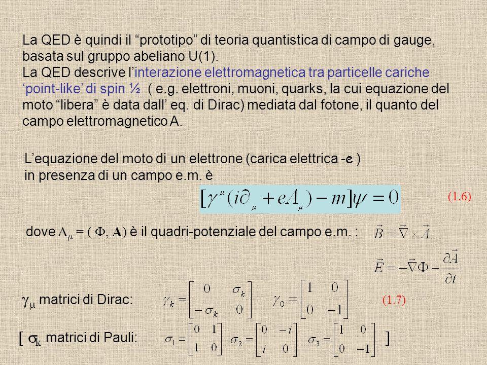 La QED è quindi il prototipo di teoria quantistica di campo di gauge, basata sul gruppo abeliano U(1). La QED descrive linterazione elettromagnetica t
