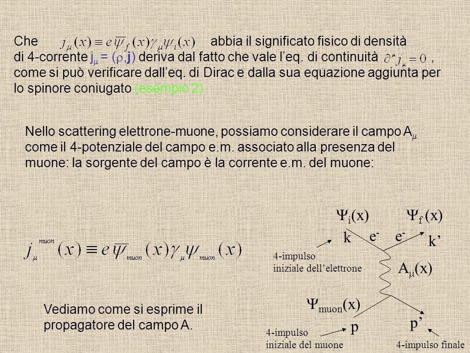 Che abbia il significato fisico di densità di 4-corrente j = (,j) deriva dal fatto che vale leq. di continuità, come si può verificare dalleq. di Dira