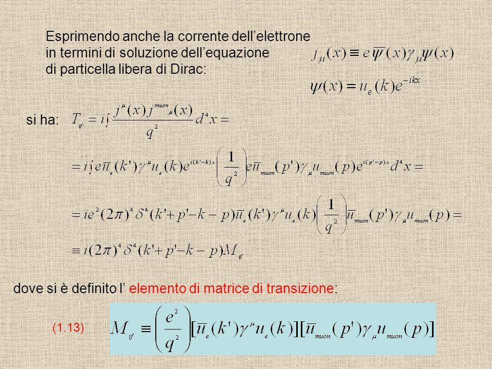 Esprimendo anche la corrente dellelettrone in termini di soluzione dellequazione di particella libera di Dirac: si ha: dove si è definito l elemento d