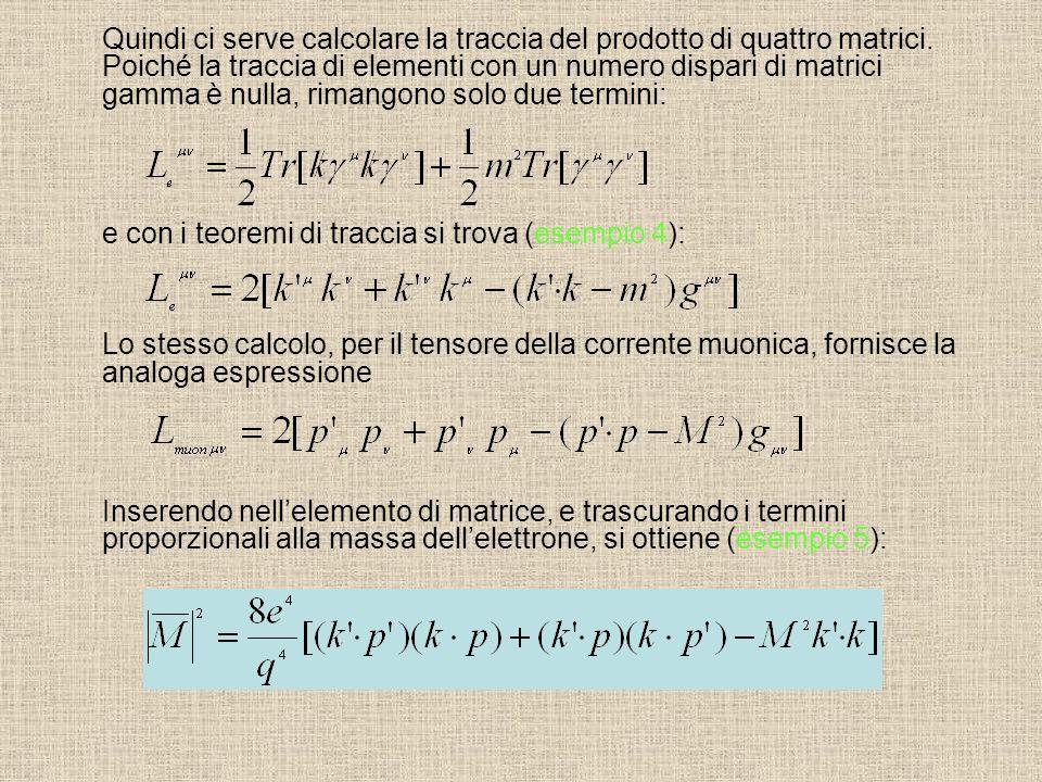 Quindi ci serve calcolare la traccia del prodotto di quattro matrici. Poiché la traccia di elementi con un numero dispari di matrici gamma è nulla, ri