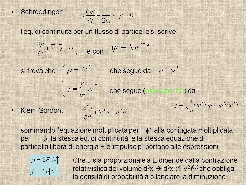 Schroedinger: leq. di continuità per un flusso di particelle si scrive, e con si trova che che segue da che segue (esercizio 1.6) da Klein-Gordon: som