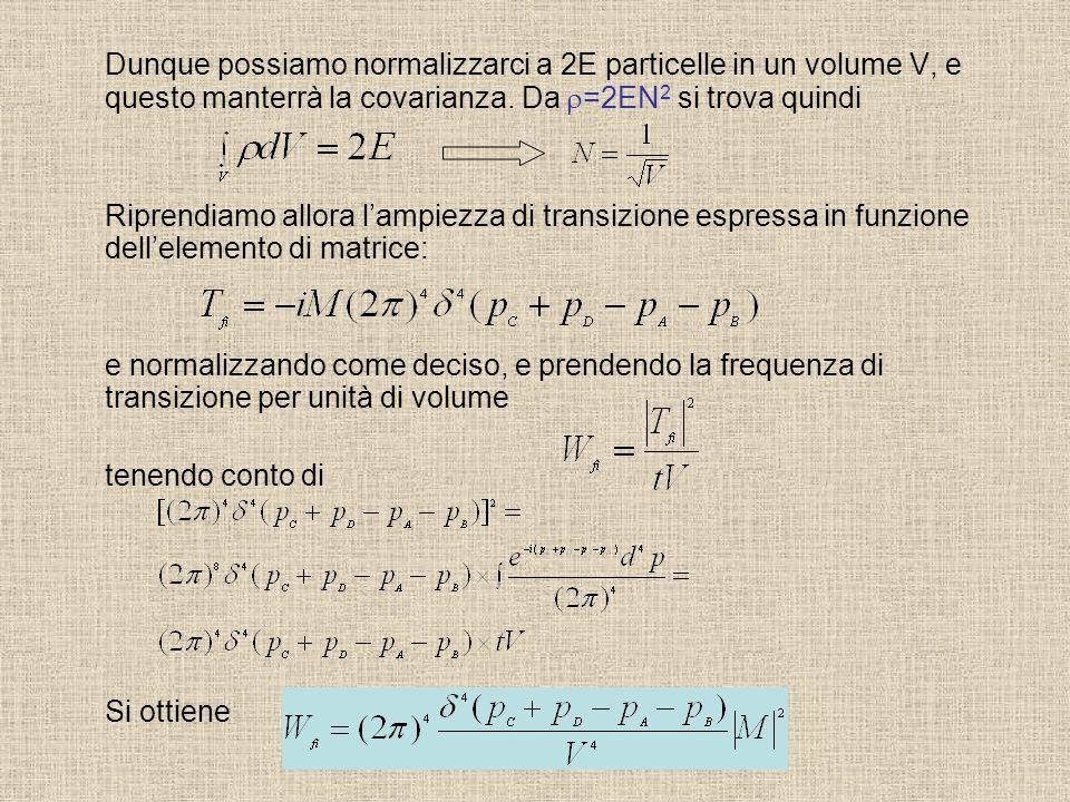 Dunque possiamo normalizzarci a 2E particelle in un volume V, e questo manterrà la covarianza. Da =2EN 2 si trova quindi Riprendiamo allora lampiezza