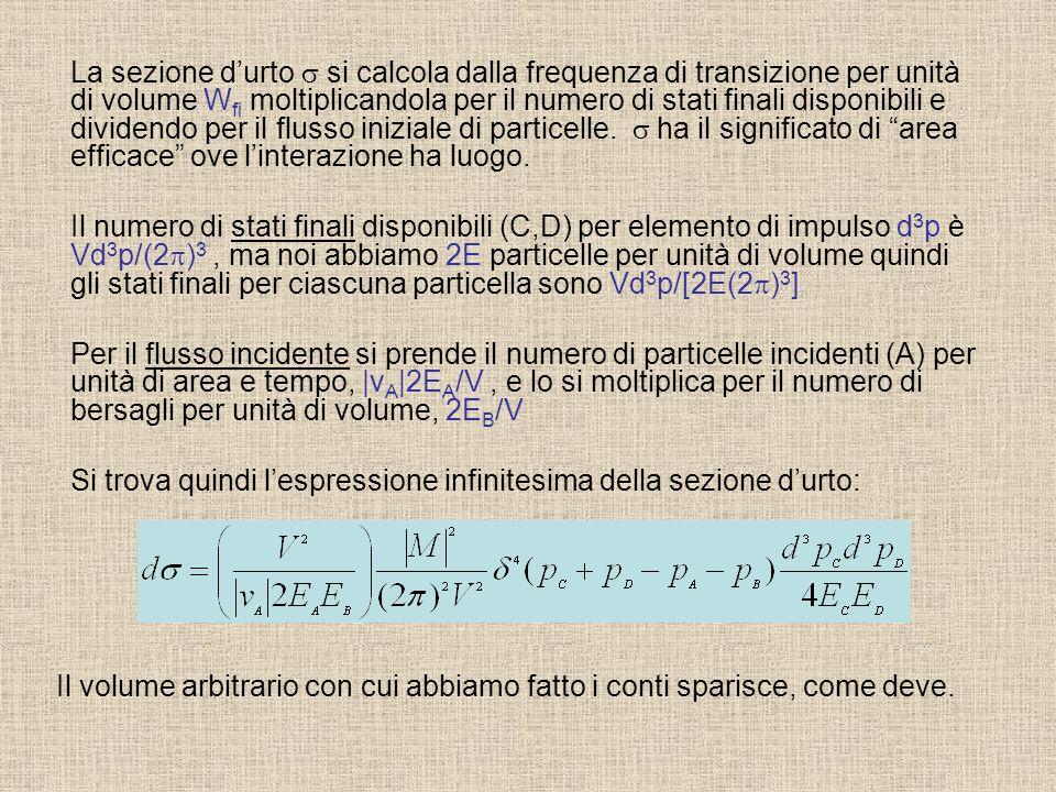 La sezione durto si calcola dalla frequenza di transizione per unità di volume W fi moltiplicandola per il numero di stati finali disponibili e divide
