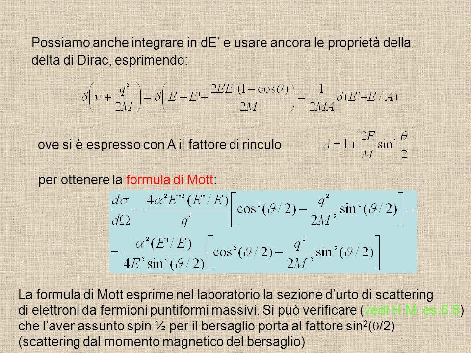 Possiamo anche integrare in dE e usare ancora le proprietà della delta di Dirac, esprimendo: ove si è espresso con A il fattore di rinculo per ottener