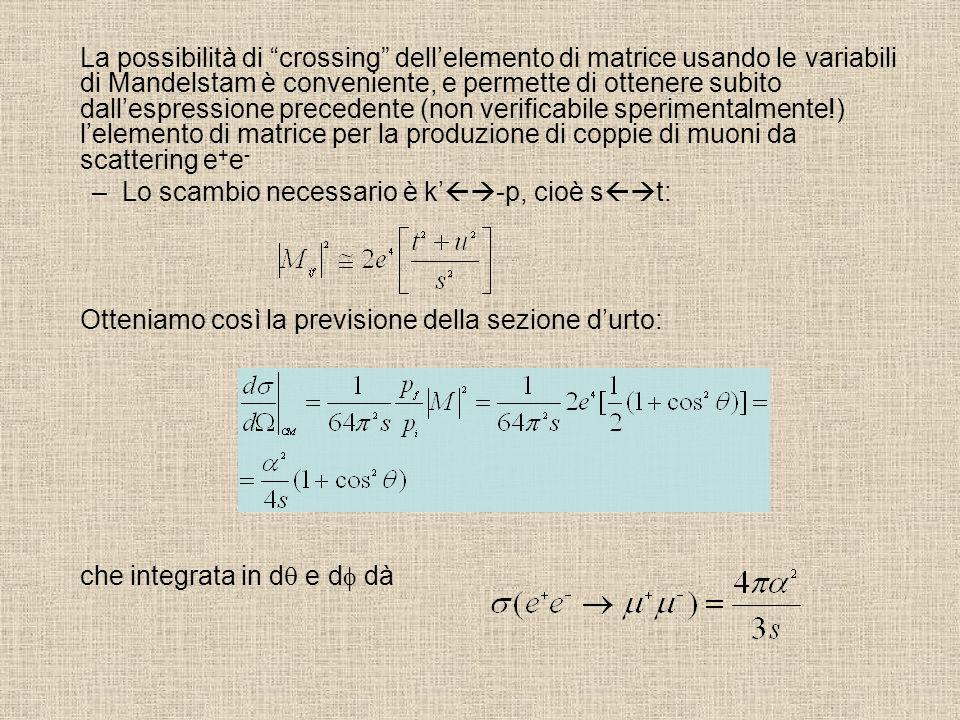 La possibilità di crossing dellelemento di matrice usando le variabili di Mandelstam è conveniente, e permette di ottenere subito dallespressione prec