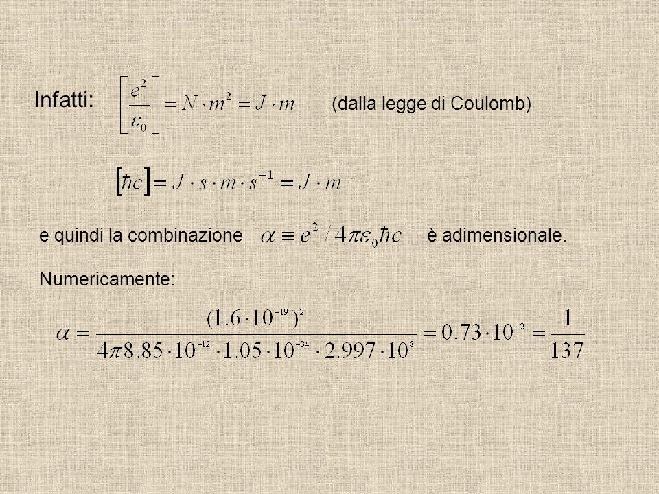Infatti: (dalla legge di Coulomb) e quindi la combinazione è adimensionale. Numericamente: