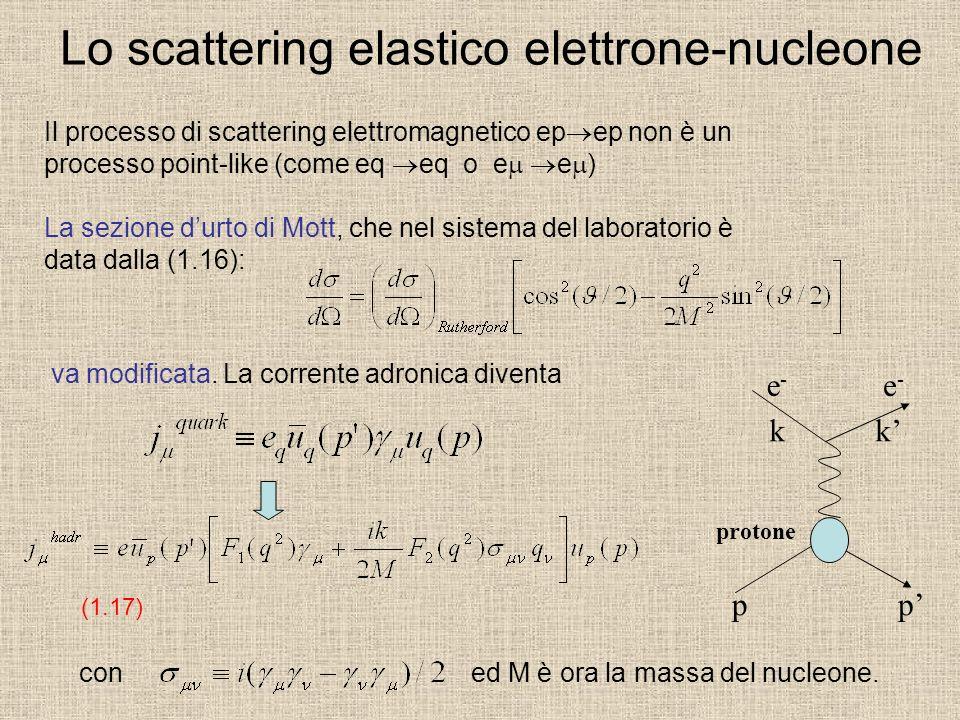 Lo scattering elastico elettrone-nucleone Il processo di scattering elettromagnetico ep ep non è un processo point-like (come eq eq o e e ) La sezione