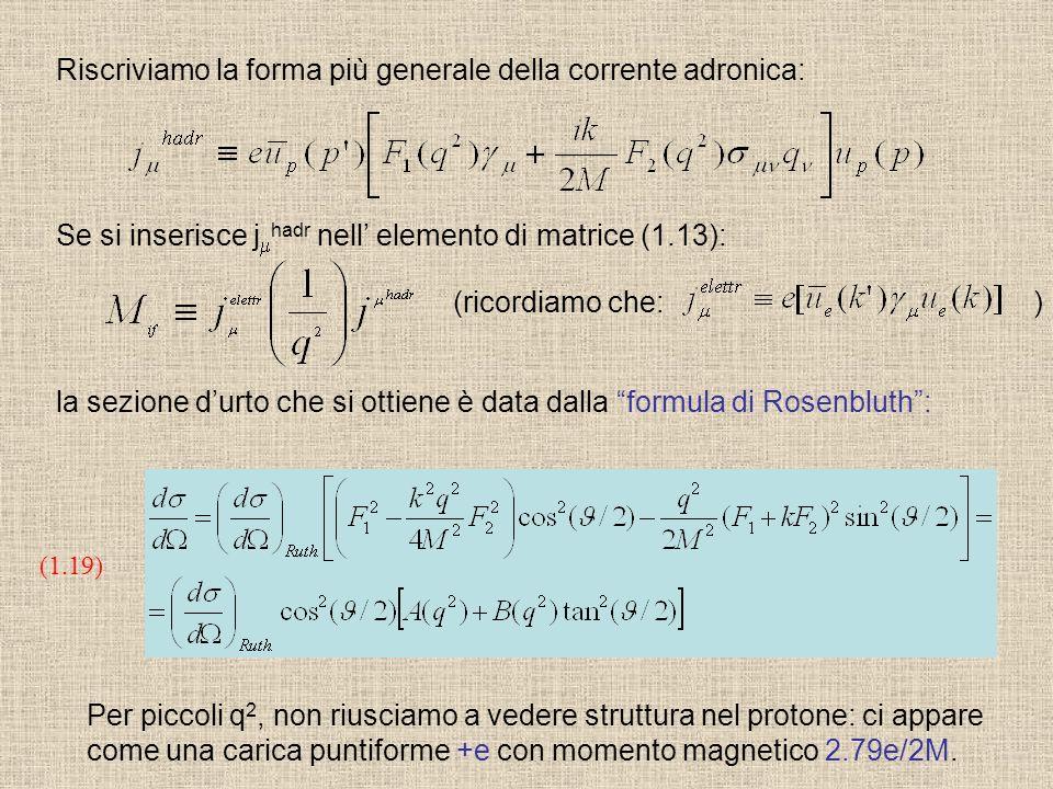 (1.19) (ricordiamo che: ) la sezione durto che si ottiene è data dalla formula di Rosenbluth: Se si inserisce j hadr nell elemento di matrice (1.13):