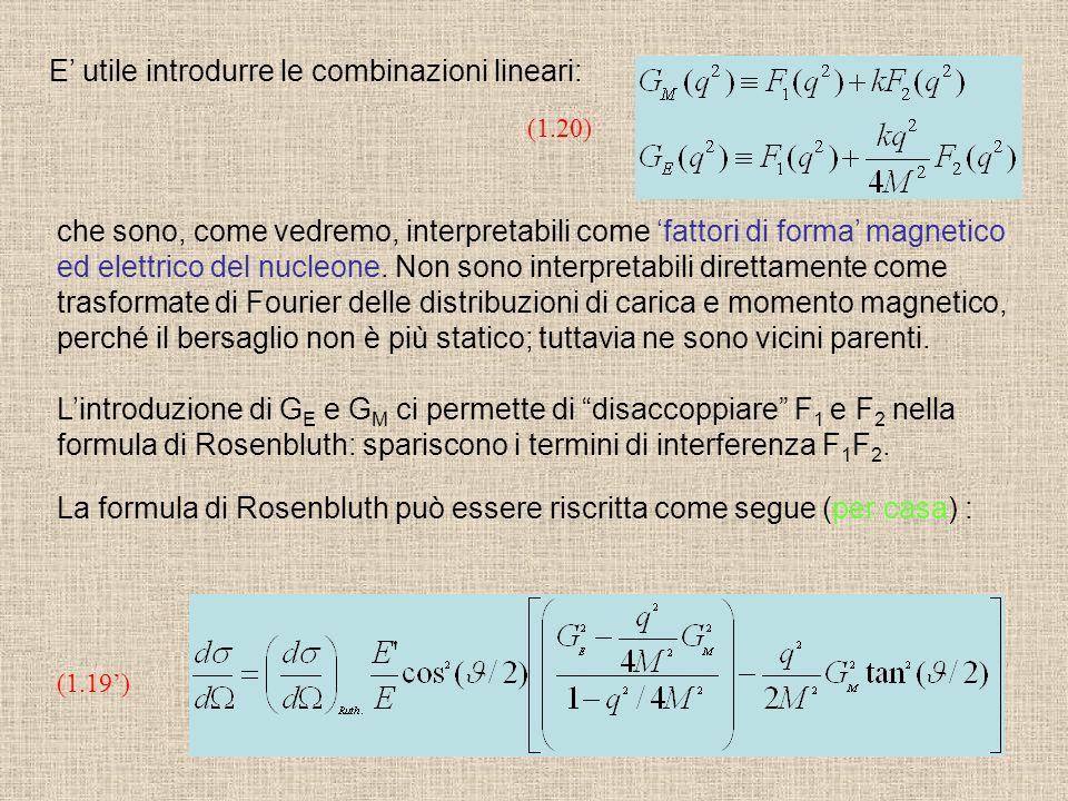 La formula di Rosenbluth può essere riscritta come segue (per casa) : (1.19) che sono, come vedremo, interpretabili come fattori di forma magnetico ed