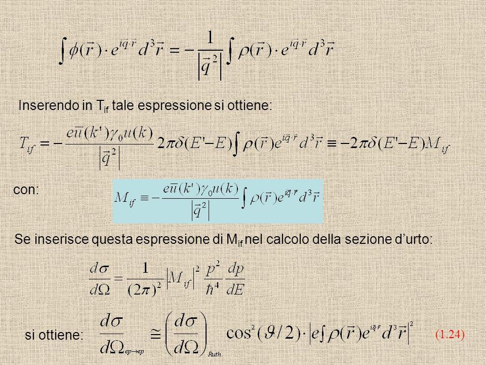 Inserendo in T if tale espressione si ottiene: con: Se inserisce questa espressione di M if nel calcolo della sezione durto: si ottiene: (1.24)