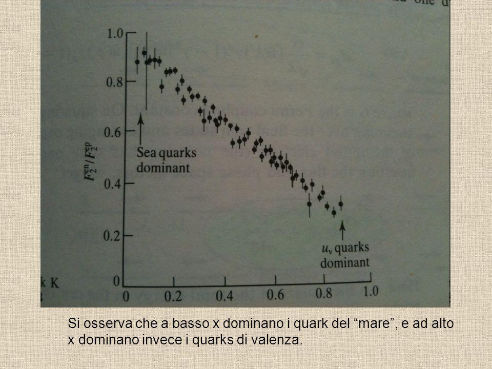 Si osserva che a basso x dominano i quark del mare, e ad alto x dominano invece i quarks di valenza.