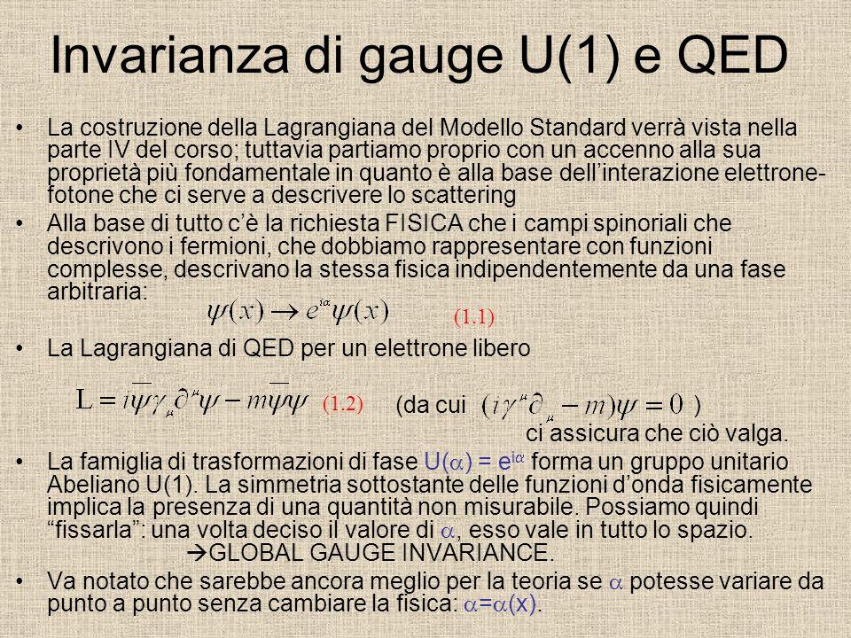 Invarianza di gauge U(1) e QED La costruzione della Lagrangiana del Modello Standard verrà vista nella parte IV del corso; tuttavia partiamo proprio c