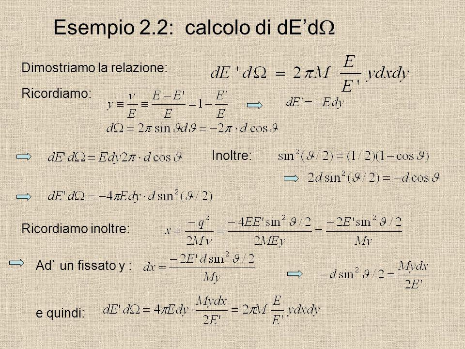 Esempio 2.2: calcolo di dEd Dimostriamo la relazione: Ricordiamo: Inoltre: Ricordiamo inoltre: Ad` un fissato y : e quindi: