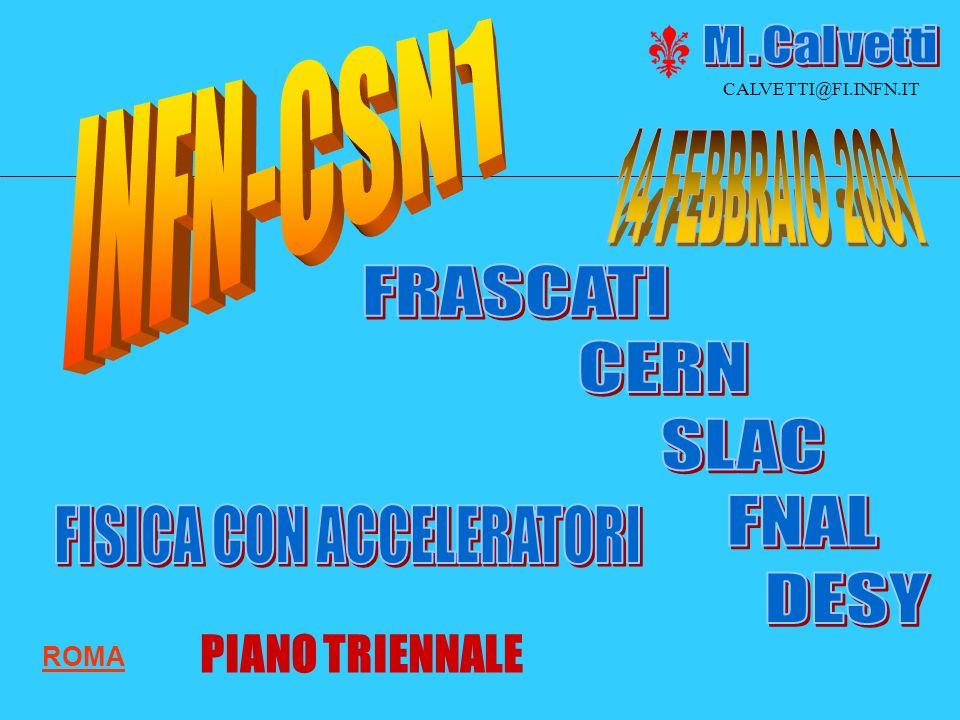 21 NATIONAL LABS 744 FTE ROMA CALVETTI@FI.INFN.IT PIANO TRIENNALE