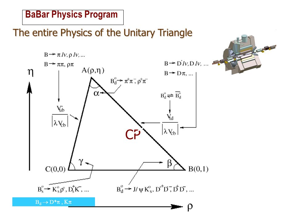 ROMA BaBar Physics Program The entire Physics of the Unitary Triangle B d D* CP