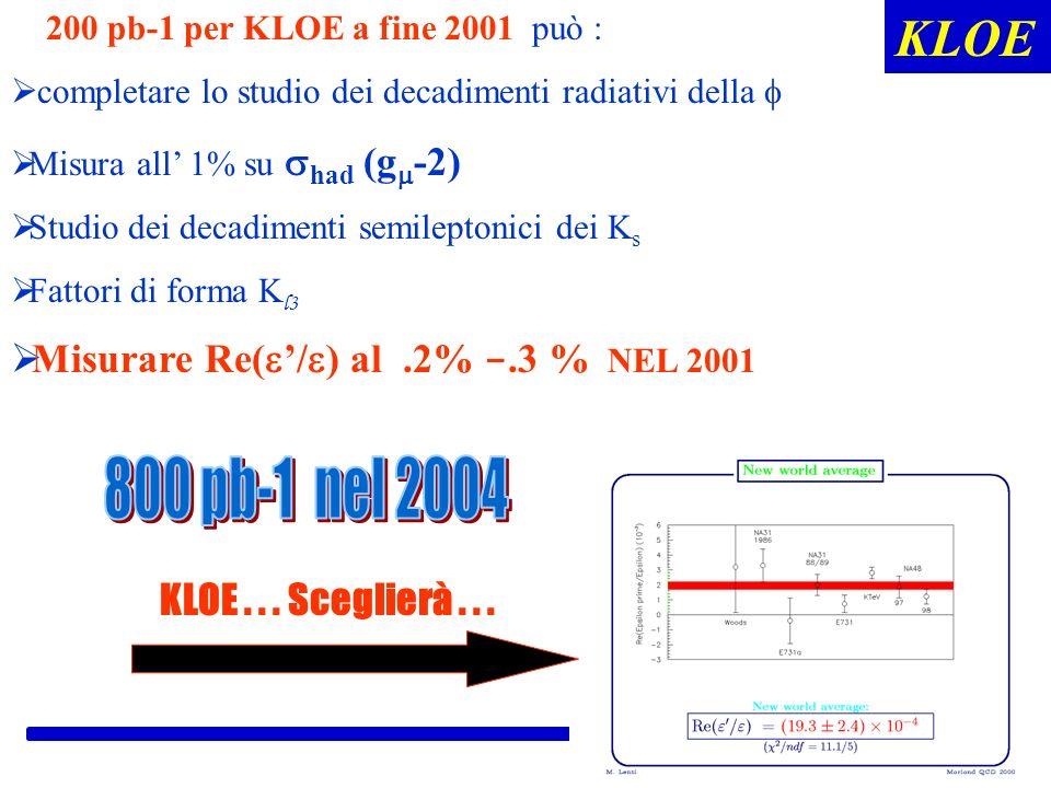 ROMA KLOE 200 pb-1 per KLOE a fine 2001 può : completare lo studio dei decadimenti radiativi della Misura all 1% su had (g -2) Studio dei decadimenti