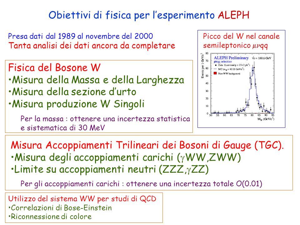 ROMA Obiettivi di fisica per lesperimento ALEPH Picco del W nel canale semileptonico qq Fisica del Bosone W Misura della Massa e della Larghezza Misur