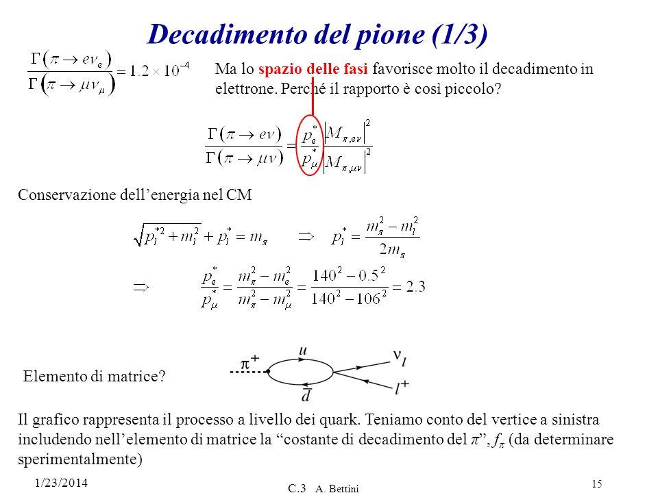 1/23/2014 C.3 A. Bettini 15 Decadimento del pione (1/3) Ma lo spazio delle fasi favorisce molto il decadimento in elettrone. Perché il rapporto è così